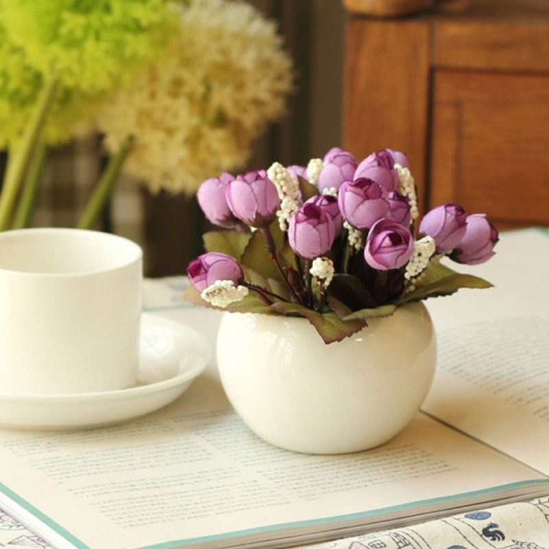 15 Heads / Bouquet Small Bud Simulation Flowers Home Vases Decoration Simulation Artificial Flower Bouquet for Wedding Table Accessory Home Decoration (Random Color)