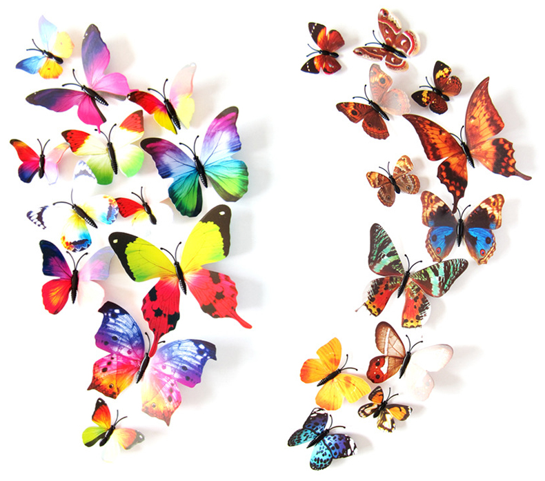 2 set creative 3d color butterfly wall stickers living room bedroom decoration supplies pin style - Color Butterfly 2