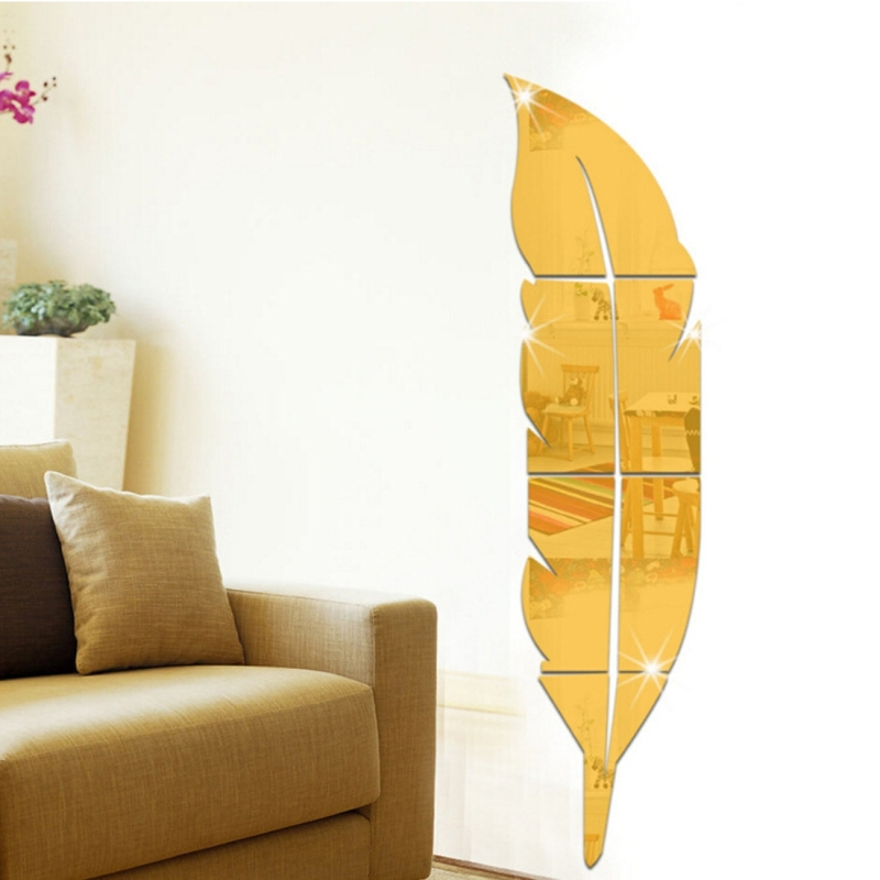 DIY Feather Style Acrylic Mirror Wall Stickers Home Room Mural Decoration Art Wall Sticker (Gold)