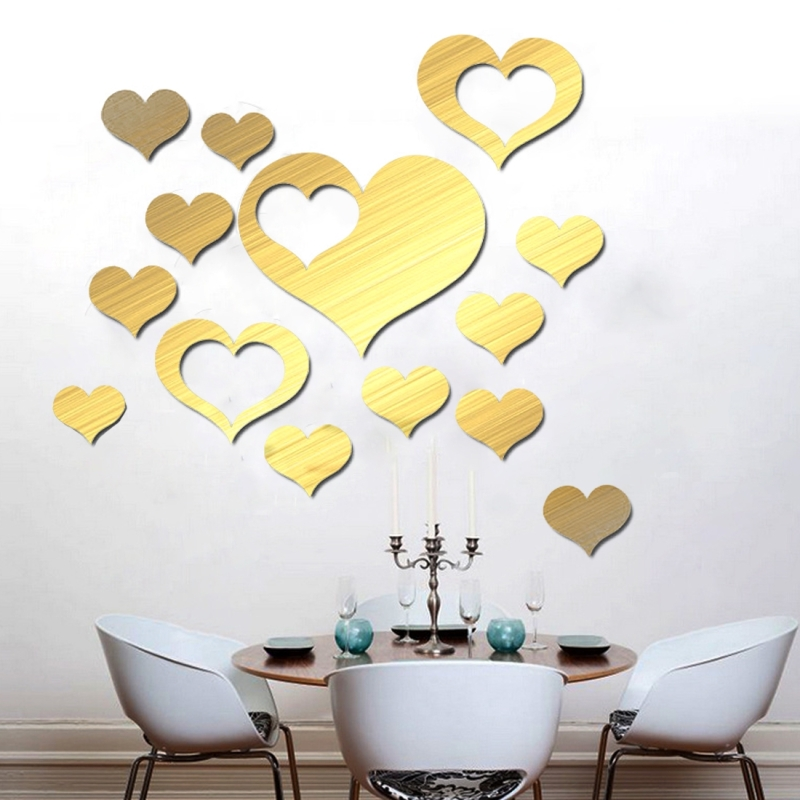 5 in 1 Love Shape Mirror Art Decor Wall Stickers Living Room ...