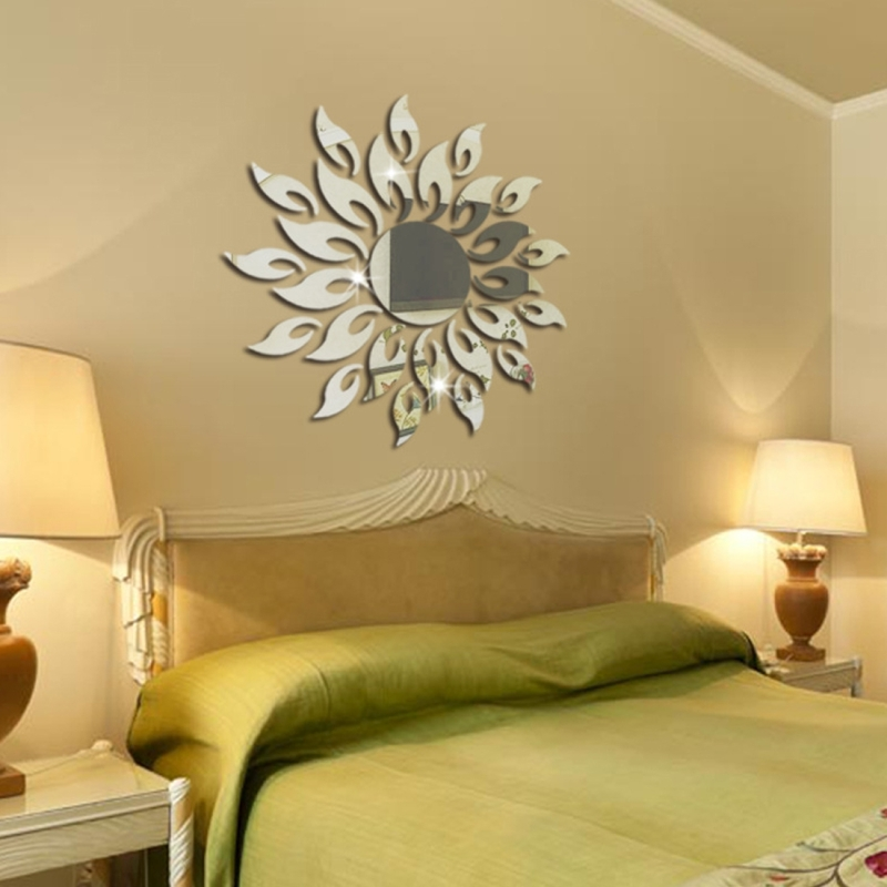 Sunflower Mirror Wall Sticker Bedroom Living Room Decoration Stickers Silver