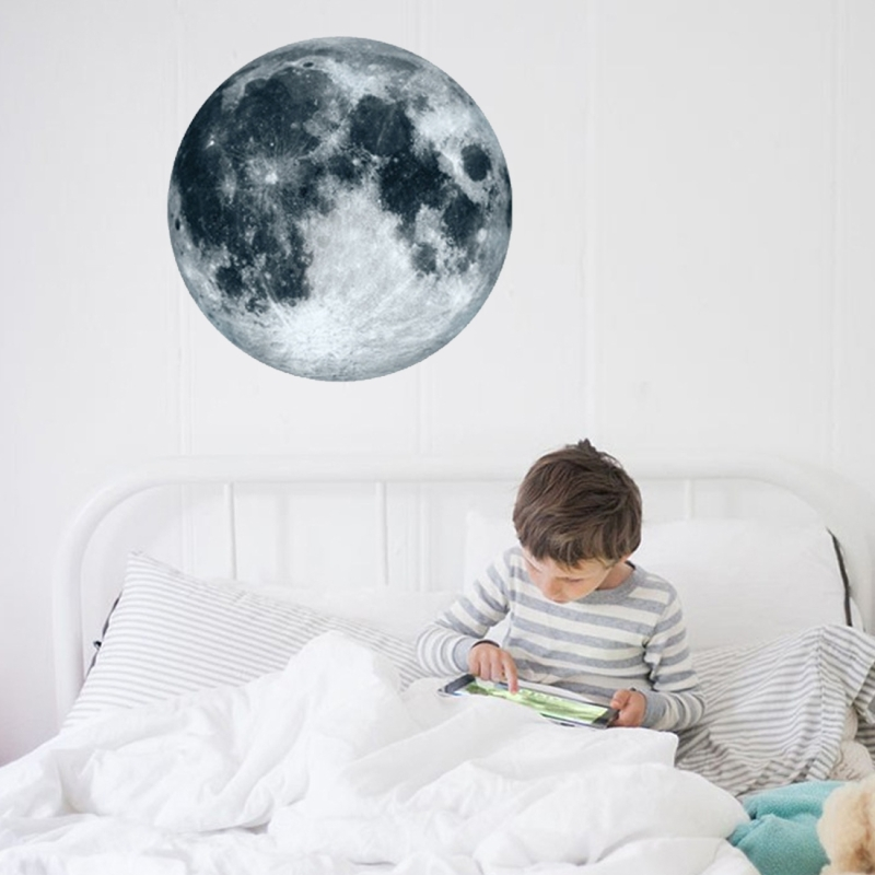 Fluorescent Moon Wall Stickers Halloween Wall Stickers Bedroom Living room  Decorative Wall Stickers (Grey)