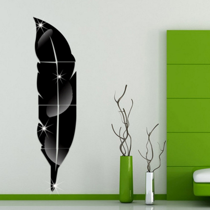 DIY Feather Style Acrylic Mirror Wall Stickers Home Room Mural Decoration Art Wall Sticker (Black)