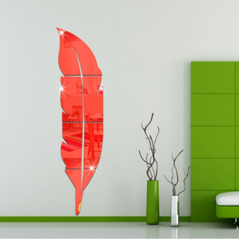 DIY Feather Style Acrylic Mirror Wall Stickers Home Room Mural Decoration Art Wall Sticker (Red)