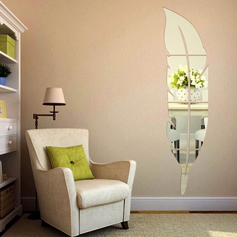 DIY Feather Style Acrylic Mirror Wall Stickers Home Room Mural Decoration Art Wall Sticker (Silver)