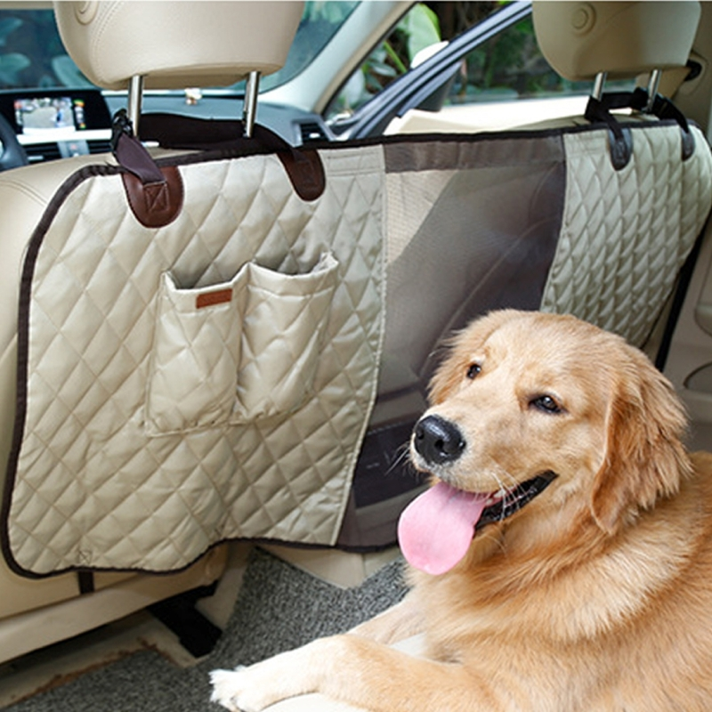 Deluxe Travel Pet Dog Car Seat Fence Safety Barrier Pet Fence Rear Row Seat Safety Isolation Net Protection (Beige)