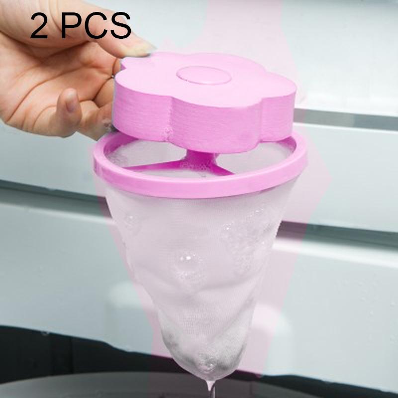 2 PCS Plum-shaped Washing Machine Hair Removal Mesh Filter Bag Floating Style Washing Machine Filtration Bag (Pink)