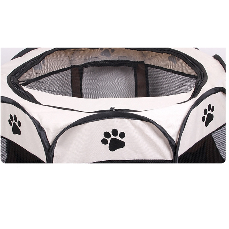 Fashion Oxford Cloth Waterproof Dog Tent Foldable Octagonal Outdoor Pet Fence (S) (Coffee)