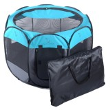 Fashion Oxford Cloth Waterproof Dog Tent Foldable Octagonal Outdoor Pet Fence (S) (Blue)