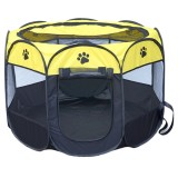 Fashion Oxford Cloth Waterproof Dog Tent Foldable Octagonal Outdoor Pet Fence (S) (Yellow)