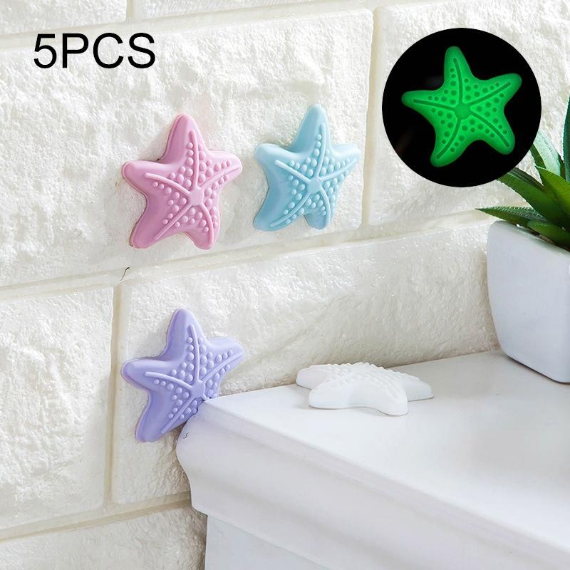 5 PCS Room Doorknob Pad Anti-collision Starfish Door Luminous Handle Lock Shock Pad Protective (Random Color)