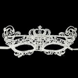 Halloween Masquerade Party Dance Sexy Lady Lace Crown Mask (White)