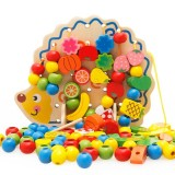 Early Learning Education Wooden Toys Hedgehog Fruit Beads Child Hand Eye Coordination Skills Development Educational Toys For Kids