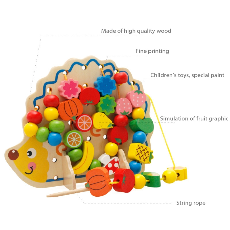 Early Learning Education Wooden Toys Hedgehog Fruit Beads Child Hand