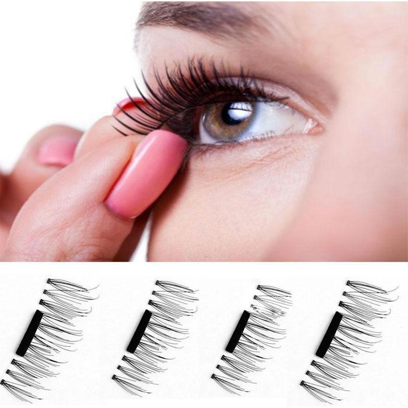 4 Pcs 3d Magnetic False Eyelashes Eye Beauty Makeup Accessories Eye