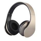 BTH-811 Folding Stereo Wireless Bluetooth Headphone Headset with MP3 Player FM Radio for Xiaomi, iPhone, iPad, iPod, Samsung, HTC, Sony, Huawei and Other Audio Devices (Gold)
