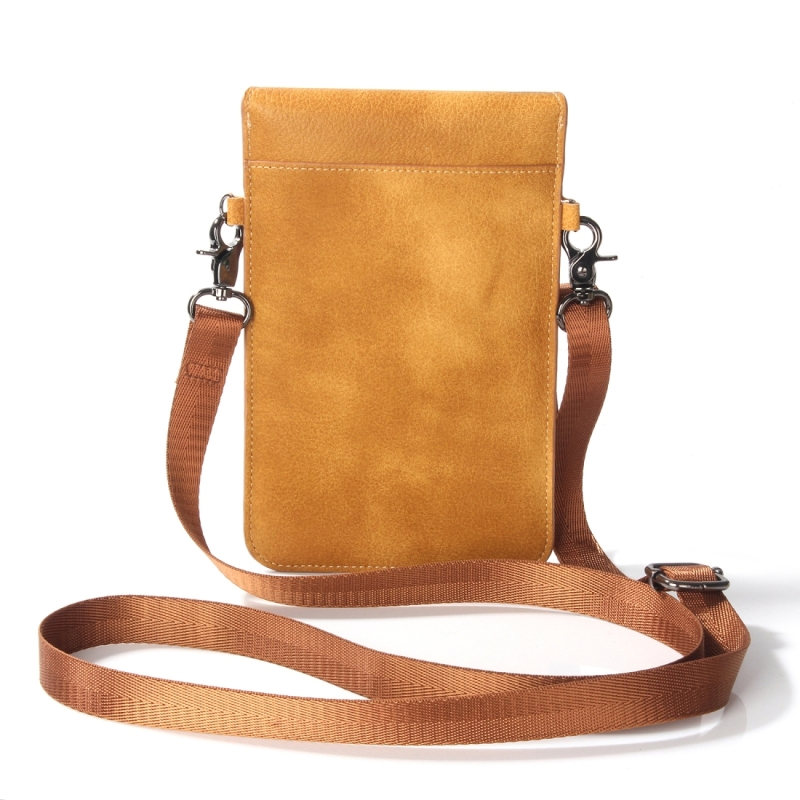 6.3 inch and Below Universal PU Leather Double Zipper Shoulder Carrying Bag with Card Slots & Wallet for Sony, Huawei, Meizu, Lenovo, ASUS, Cubot, Oneplus, Dreami, Oukitel, Xiaomi, Ulefone, Letv, DOOGEE, Vkworld, and other Smartphones (Brown)