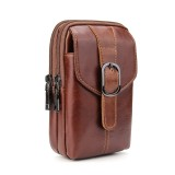 6.3 inch and Below Universal Crazy Horse Texture Genuine Leather Men Vertical Style Case Waist Bag with Belt Hole for Sony, Huawei, Meizu, Lenovo, ASUS, Cubot, Oneplus, Xiaomi, Ulefone, Letv, DOOGEE, Vkworld, and other Smartphones (Brown)