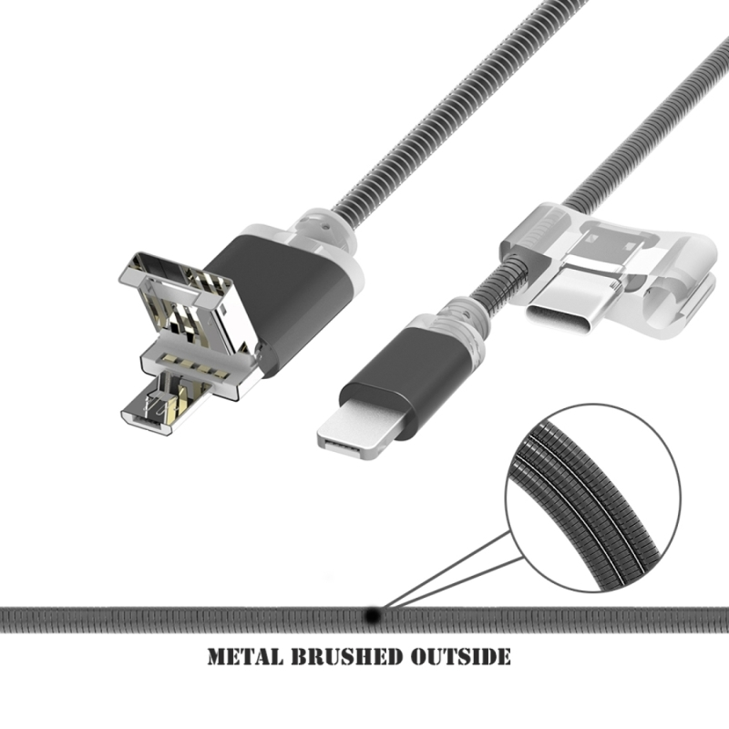 8 in 1 Metal Soft Hose 50cm 2A 144 Copper Wires Micro USB OTG Function & 8 Pin & USB-C / Type-C Data Sync Charger Cable for iPhone, Samsung, HTC, LG, Sony, Huawei, Lenovo, Xiaomi and other Smartphones