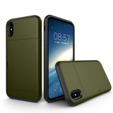For iPhone 8 TPU + PC Dropproof Protective Back Cover Case with Card Slot (Army Green)