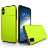 For iPhone 8 TPU + PC Dropproof Protective Back Cover Case with Card Slot (Fluorescent Green Light)