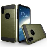 For iPhone 8 Brushed Texture TPU + PC Dropproof Protective Back Cover Case (Army Green)