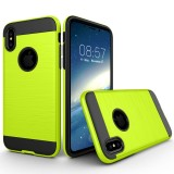 For iPhone 8 Brushed Texture TPU + PC Dropproof Protective Back Cover Case (Fluorescent Green Light)