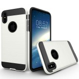 For iPhone 8 Brushed Texture TPU + PC Dropproof Protective Back Cover Case (White)