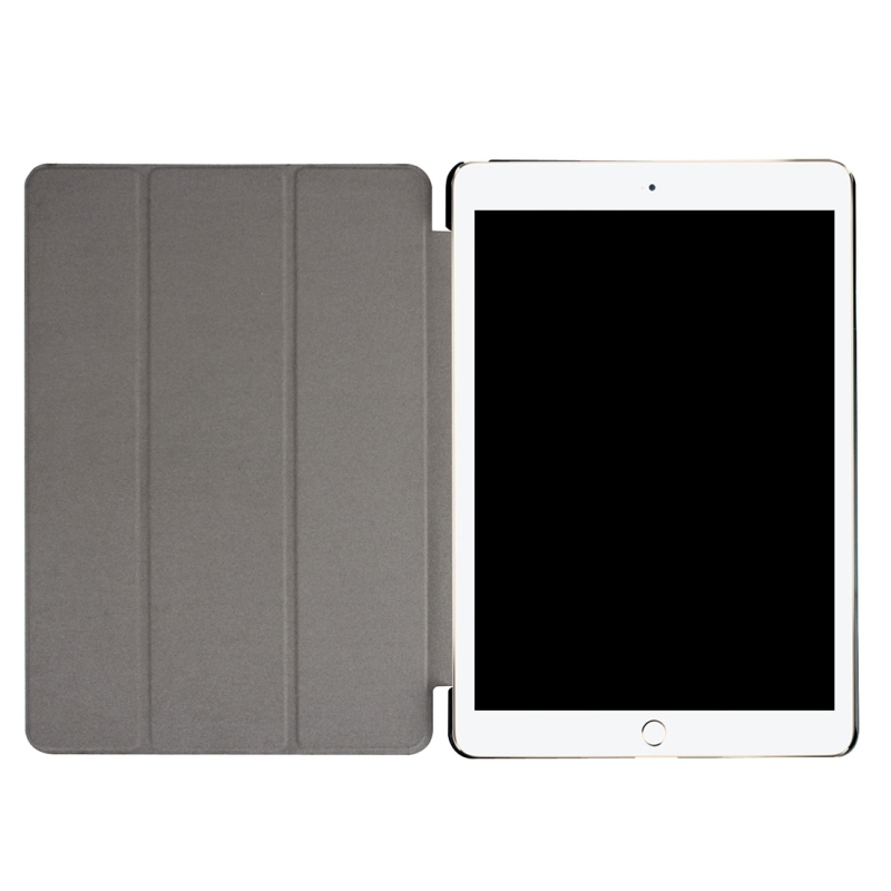 For iPad Pro 10.5 inch PU Litchi Texture 3-folding Smart Case Clear Back Cover with Holder (Black)