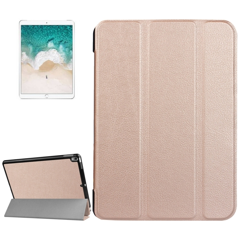 For iPad Pro 10.5 inch PU Litchi Texture 3-folding Smart Case Clear Back Cover with Holder (Rose Gold)
