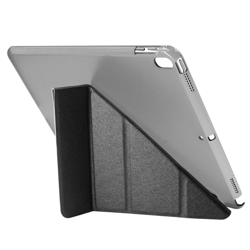 ENKAY for iPad Pro 10.5 inch Silk Texture + Plastic Bottom Case Horizontal Deformation Flip Leather Case with Three-folding Holder & Sleep Function (Black)