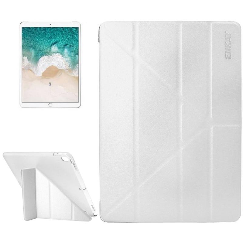 ENKAY for iPad Pro 10.5 inch Silk Texture + Plastic Bottom Case Horizontal Deformation Flip Leather Case with Three-folding Holder & Sleep Function (White)