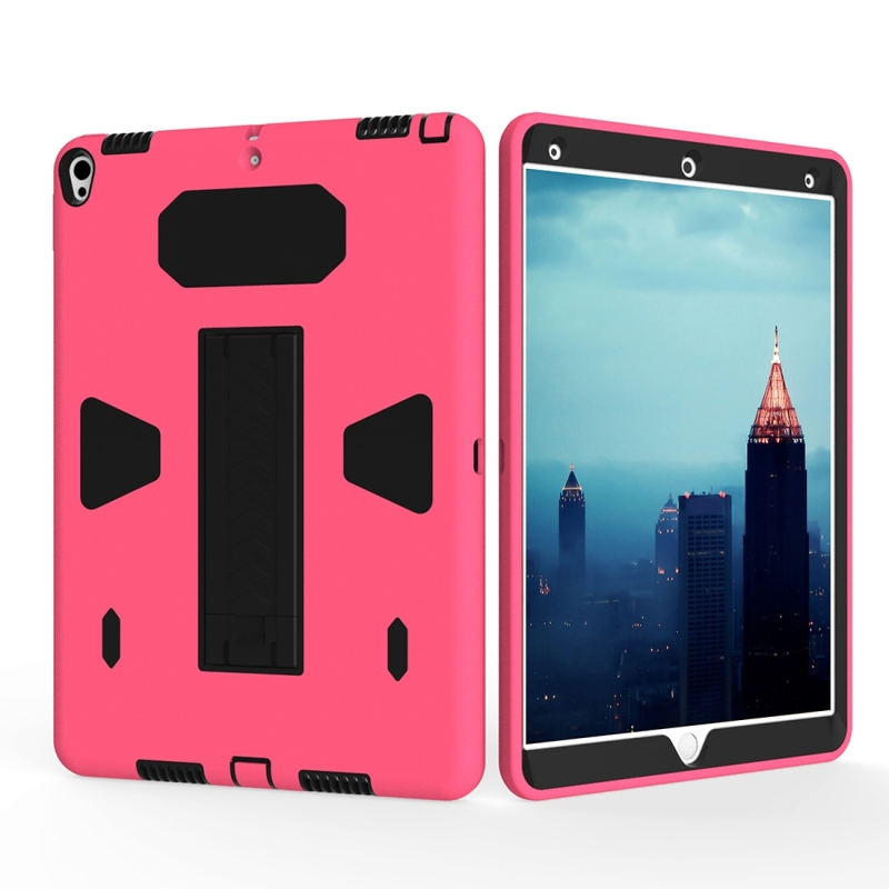 brand new 66315 d7ef2 For iPad Pro 10.5 inch PC+Silicone Shockproof Protective Back Cover Case  With Holder (Black + Magenta)
