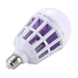 E27 15W White Light + 365 NM Purple Light Fly Pest Insects Reject Zapper Mosquito Killer LED Ball Steep Light Bulb Lamp, AC 175-265V