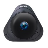 ESCAM Q8 960P 360 Degrees Fisheye Lens 1.3MP WiFi IP Camera, Support Motion Detection / Night Vision, IR Distance: 5-10m (Black)