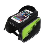 BaseCamp BC-301 Bicycle Phone Bags Mountain Road Bike Front Head Top Frame Handlebar Bag with Transparent Window & Sun Visor for 16*8cm and Below Smartphones (Green)