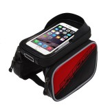 BaseCamp BC-301 Bicycle Phone Bags Mountain Road Bike Front Head Top Frame Handlebar Bag with Transparent Window & Sun Visor for 16*8cm and Below Smartphones (Red)