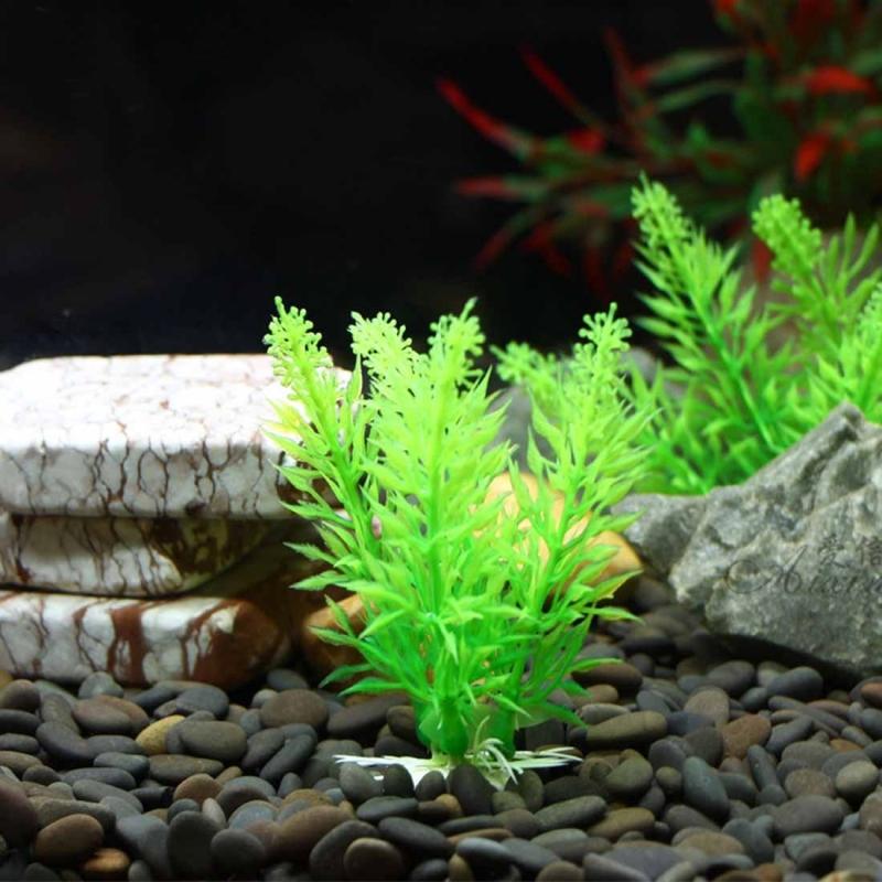 Artificial tree plant grass figurines miniatures aquarium for Fish tank tree