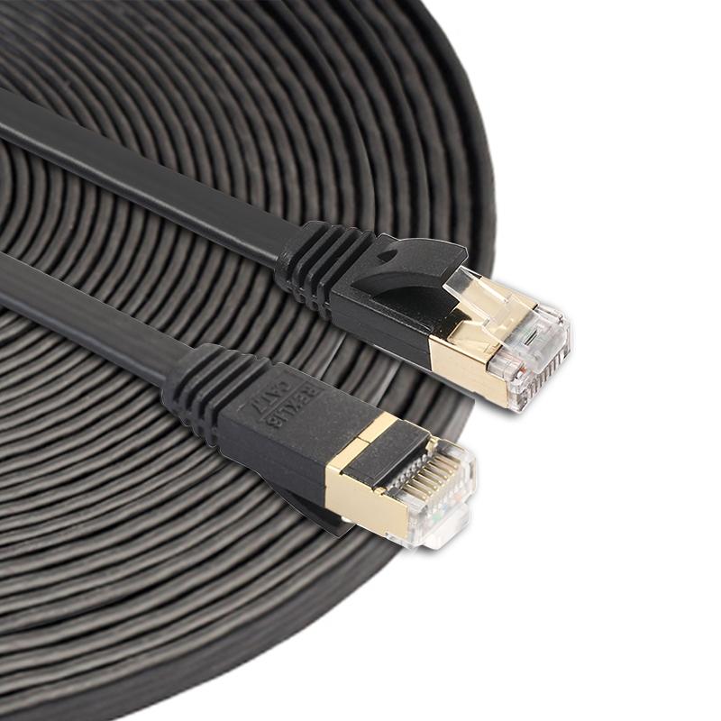 15m CAT7 10 Gigabit Ethernet Ultra Flat Patch Cable for Modem Router LAN Network - Built with Shielded RJ45 Connectors (Black)