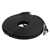 10m CAT6 Ultra-thin Flat Ethernet Network LAN Cable, Patch Lead RJ45 (Black)