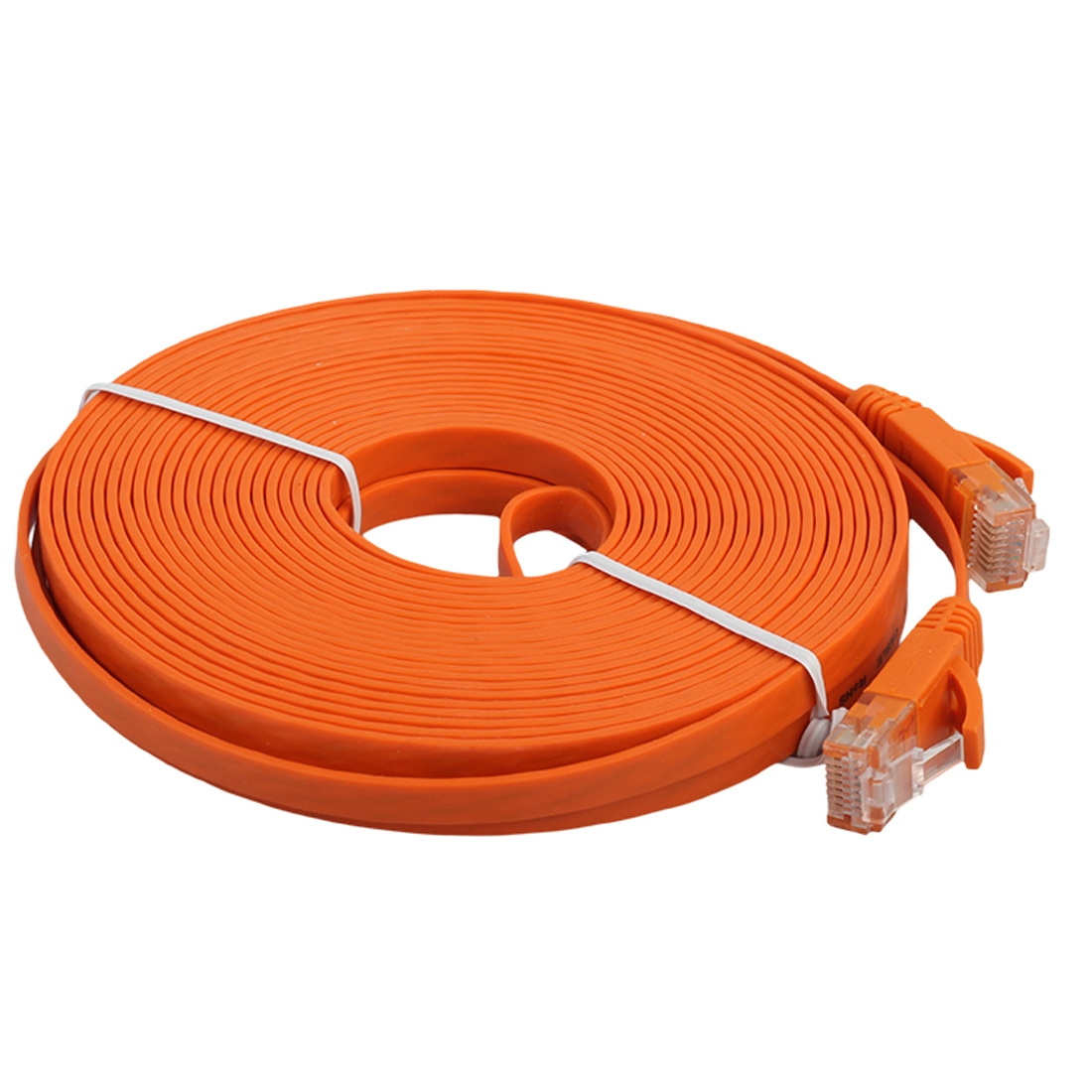 10m cat6 ultra thin flat ethernet network lan cable patch lead rj45 orange. Black Bedroom Furniture Sets. Home Design Ideas