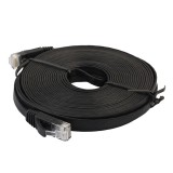 15m CAT6 Ultra-thin Flat Ethernet Network LAN Cable, Patch Lead RJ45 (Black)