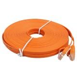 15m CAT6 Ultra-thin Flat Ethernet Network LAN Cable, Patch Lead RJ45 (Orange)