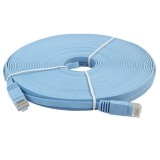 15m CAT6 Ultra-thin Flat Ethernet Network LAN Cable, Patch Lead RJ45 (Blue)