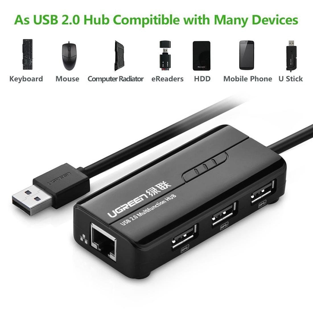 UGREEN 20264 3 Ports USB 2.0 HUB Splitter + 10/100Mbps RJ45 Ethernet Adapter for Mac, Windows, Linux Systems PC, 28cm
