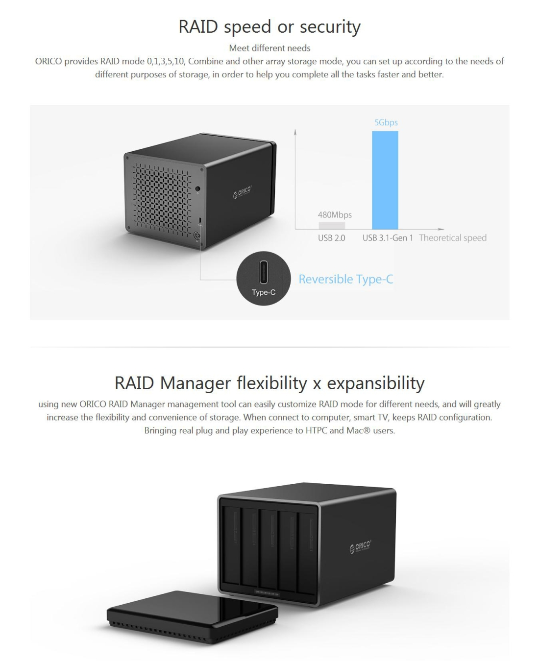 Orico Ns500 C3 5 Bay Usb C Type 31 To Sata External Hard Disk New Arrival 1 25 Inch Hdd Enclosure 2 30 Pc5900 7