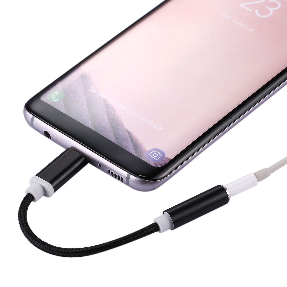 USB-C / Type-C Male to 3.5mm Female Weave Texture Audio Adapter for Samsung Galaxy S8 & S8 + / LG G6 / Huawei P10 & P10 Plus / Oneplus 5 / Xiaomi Mi6 & Max 2 /and other Smartphones, 10cm (Black)