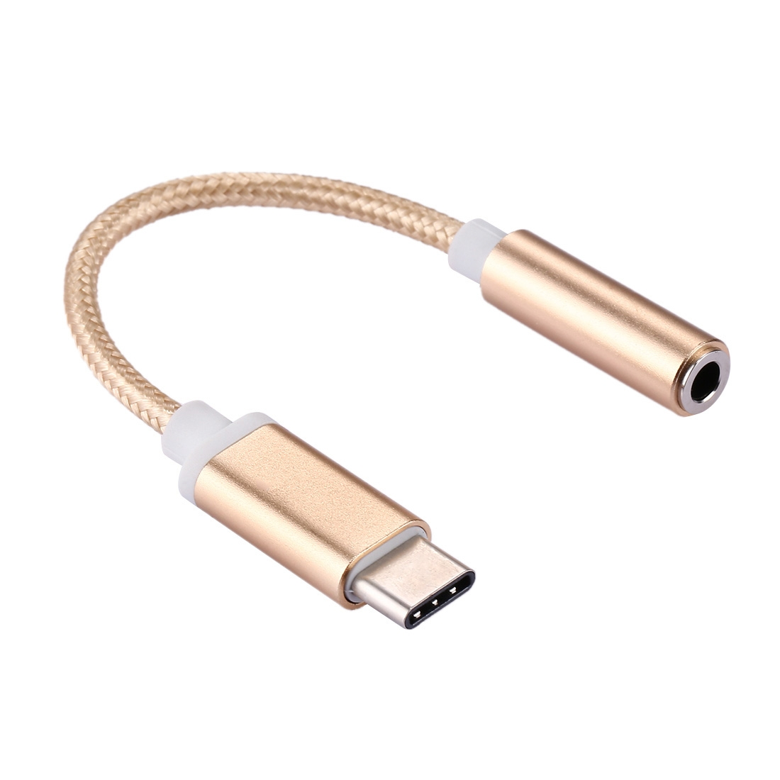 USB-C / Type-C Male to 3.5mm Female Weave Texture Audio Adapter for Samsung Galaxy S8 & S8 + / LG G6 / Huawei P10 & P10 Plus / Oneplus 5 / Xiaomi Mi6 & Max 2 /and other Smartphones, Rechargeable Devices, 10cm (Gold)