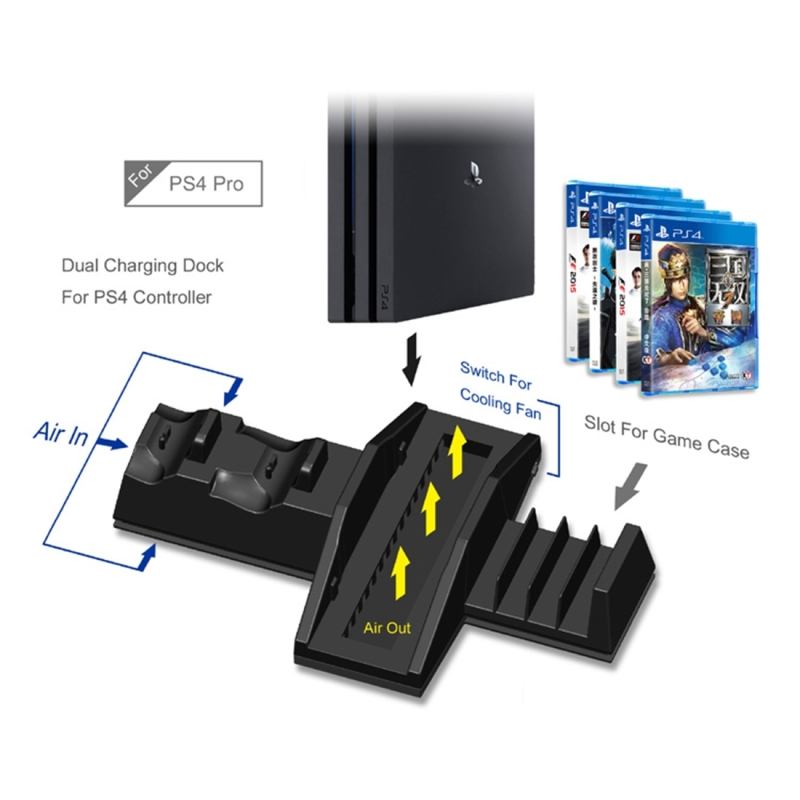DOBE TP4-837 3 in 1 Game Console Cooling Fan + Game Storage Slots + Game Controller Charging Dock for Sony PS4 / PS4 Pro (Black)