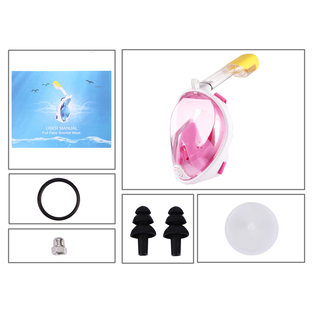 PULUZ 220mm Tube Water Sports Diving Equipment Full Dry Snorkel Mask for GoPro HERO5 /4 /3+ /3 /2 /1, S/M Size (Pink)